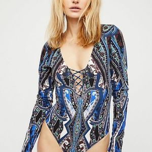 NWT Free People Pick a Place printed bodysuit